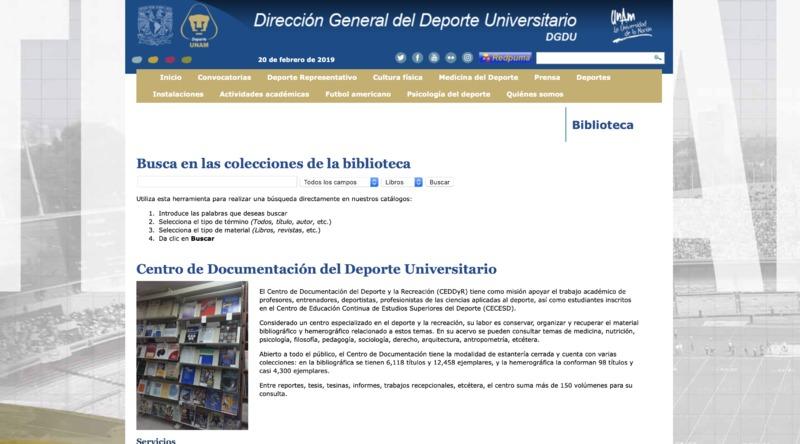 Website screenshot of Centro de Documentación del Deporte y la Recreación (CEDDyR)