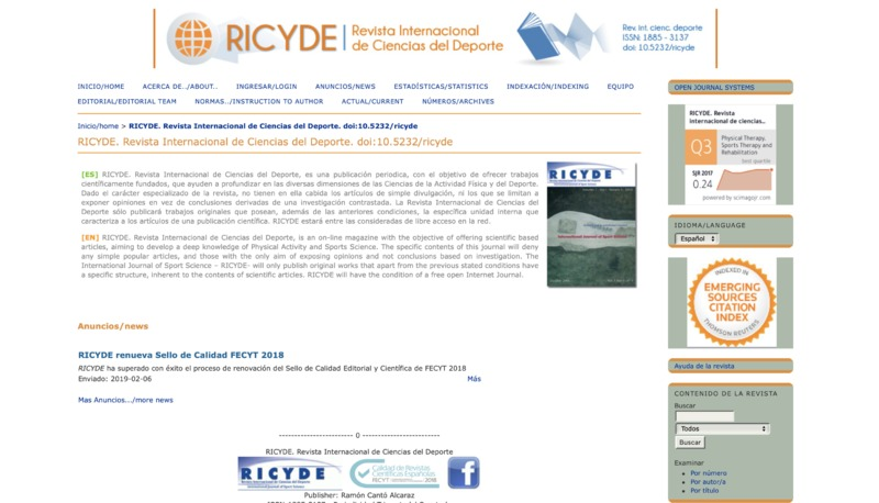 Screenshot of Revista Internacional de Ciencias del Deporte's website