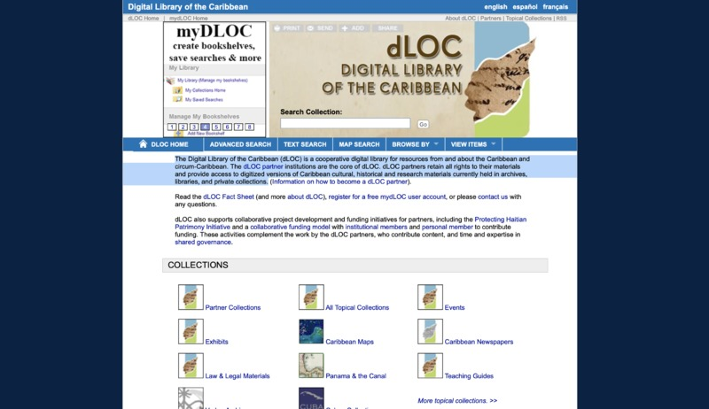 Screenshot of The Digital Library of the Caribbean (dLOC)