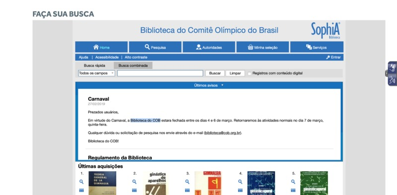 Screenshot of the Biblioteca do Comitê Olímpico do Brasil's website