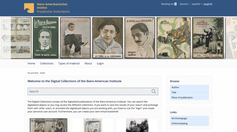 Screenshot of Digital Collections of the Ibero-American Institute's website