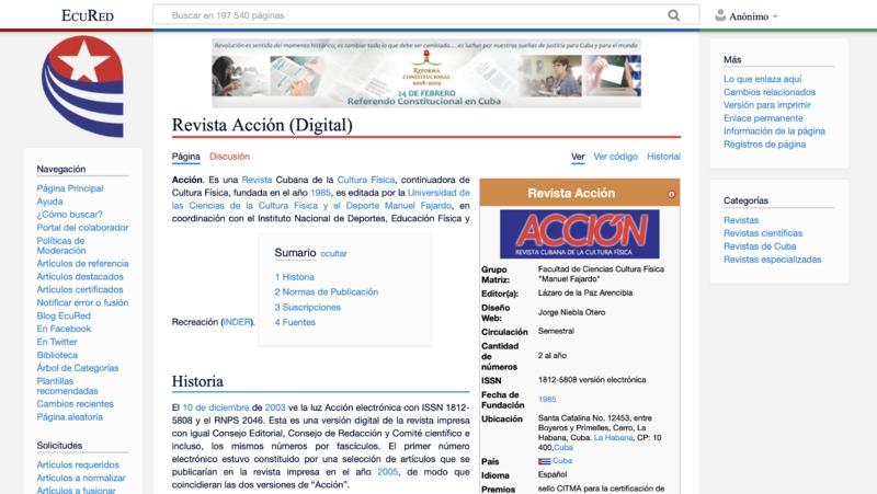 Screenshot of Acción: Revista Cubana de la Cultura Física's website