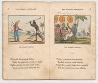 """On the left, titled, """"The Negro's Labour,"""" an enslaved African digs square holes while a white overseer holds a whip. More figures do the same in the background. Underneath, the text reads:   Why did all-creating Nature Make the plant, for which we toil? Sighs must fan it, tears must water, Sweat of ours must dress the soil.  On the right, titled """"The Master's Carousal,"""" four well-dressed planters drink and smoke, lounging around a table, while in the background, a man brandishes a whip over two people cutting cane. Underneath, the text reads:  Think, ye masters iron-hearted, Lolling at your jovial boards; Think how many backs have smarted For the sweets your cane affords."""