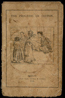 Underneath the title, two fashionably dressed ladies in a cloth shop examine cotton cloth for purchase from two smiling salesmen.