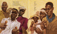 Six black persons of diverse ages and genders hold construction tools while facing intently towards the viewer. The perspective is on level with their hands, looking up into their faces.