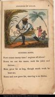 In the foreground, a black man cuts down sugar cane with a machete. In the background, a donkey cart hauls away cut cane, while a black woman chews cane and another man plays the fiddle. Underneath the image, the text reads: