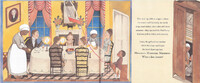 A white family sits around a formal dining table, served by an enslaved black woman. An enslaved black boy adjusts the chandelier lights. Text appears to the right of the image, with a second, slim image to the far right, showing the black woman and her daughter licking the dessert bowl in a closet.