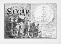 Underneath the book title, The History of a Pound of Sugar, seven white children, roughly ages two through eight, watch a magic lantern show projected on the wall. The eldest boy operates the lantern projector. The projected slide features the series title and this book's focus, Rhymes and Pictures: Sugar Cane, with an image of cane growing in the sun.